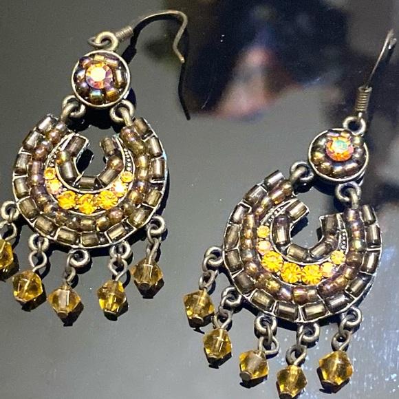 Golden Yellow Iridescence Boho Dangling Earrings
